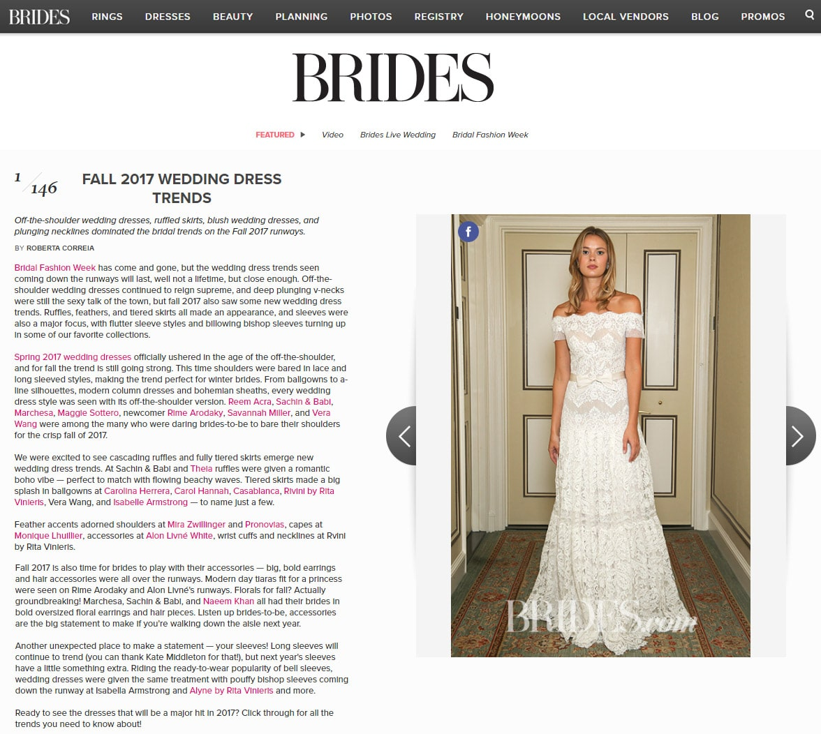Brides.com: FALL 2017 WEDDING DRESS TRENDS