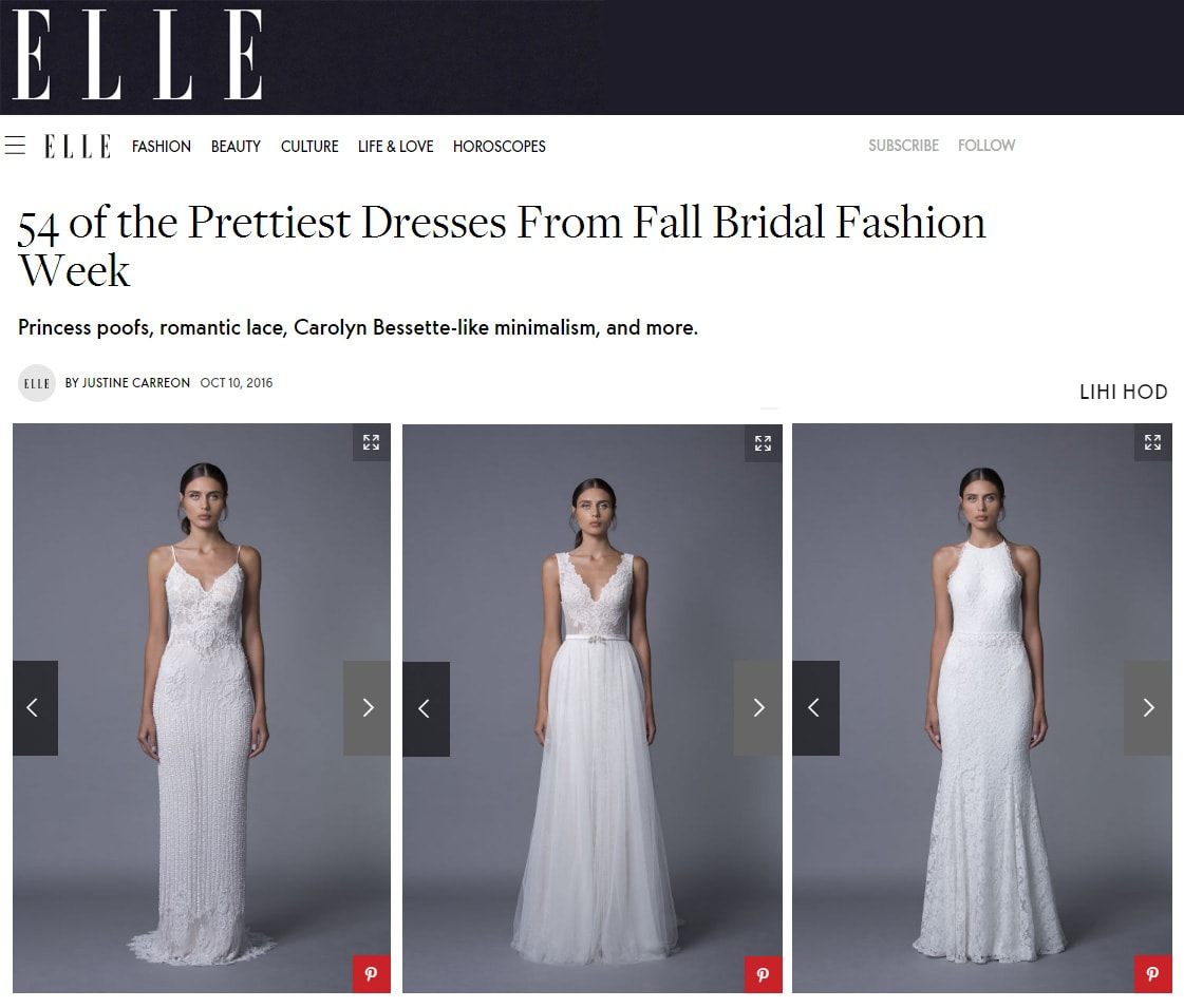 ELLE: 54 of the Prettiest Dresses Fron1 Fall Bridal Fashion Week