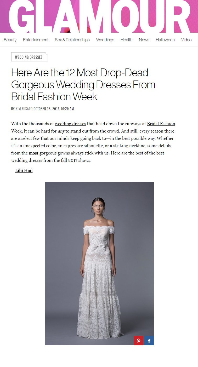 Glamour: Here Are the 12 Most Drop-Dead  Gorgeous Wedding Dresses From  Bridal Fashion Week