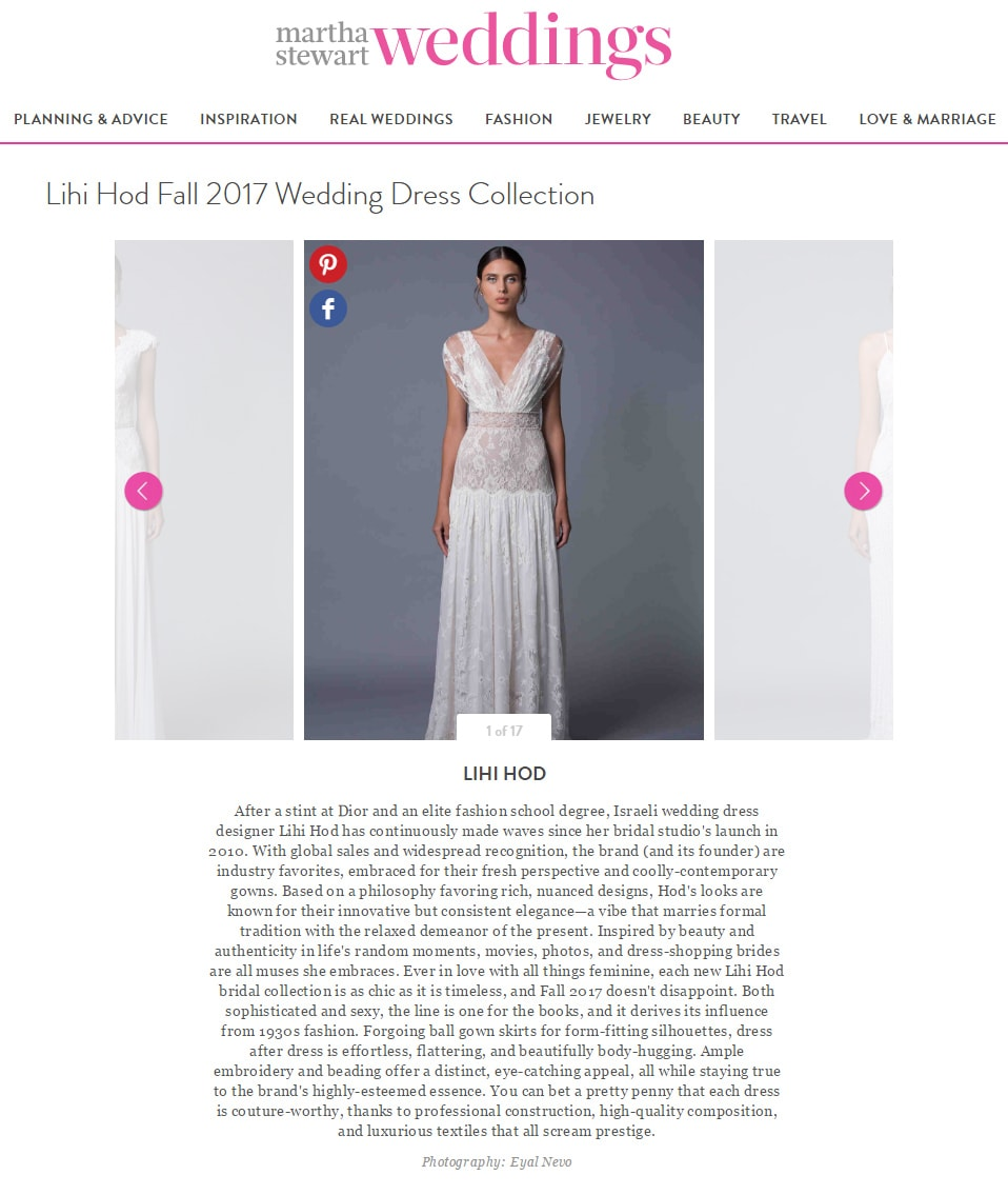 Martha Stewart Weddings: Lihi Hod Fall 2017 Wedding Dress Collection