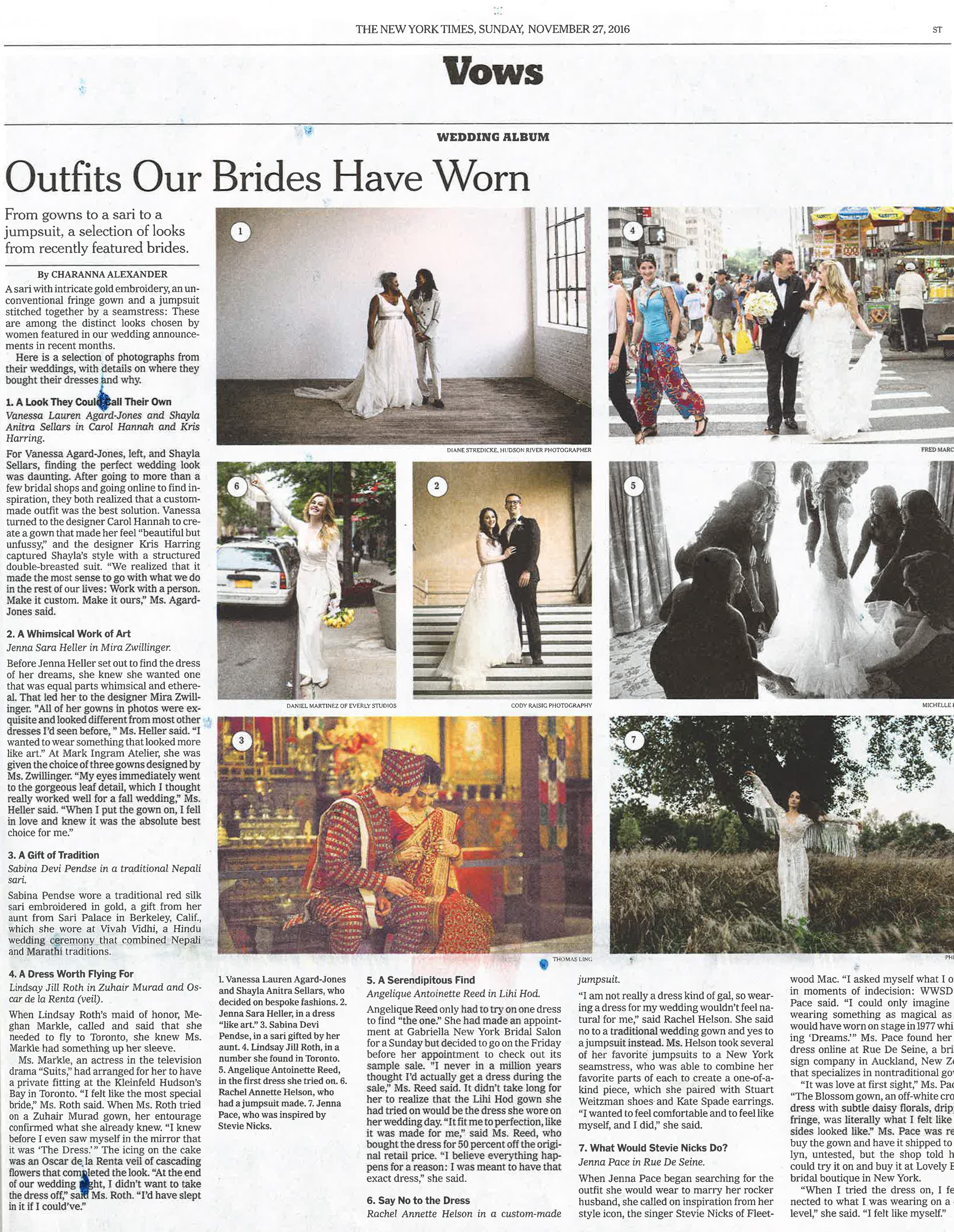 NYT Real Bride, November 27, 2016