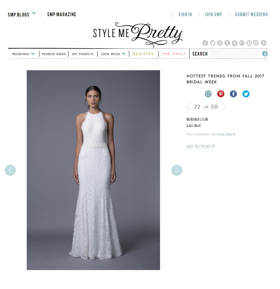 Style Me Pretty: LIHI HOD BRIDAL WEEK FALL 2017