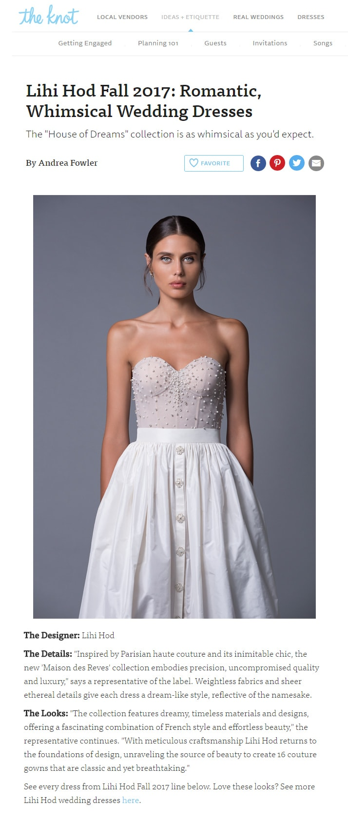 The Knot: Lihi Hod Fall 2017: Romantic,  Whimsical Wedding Dresses
