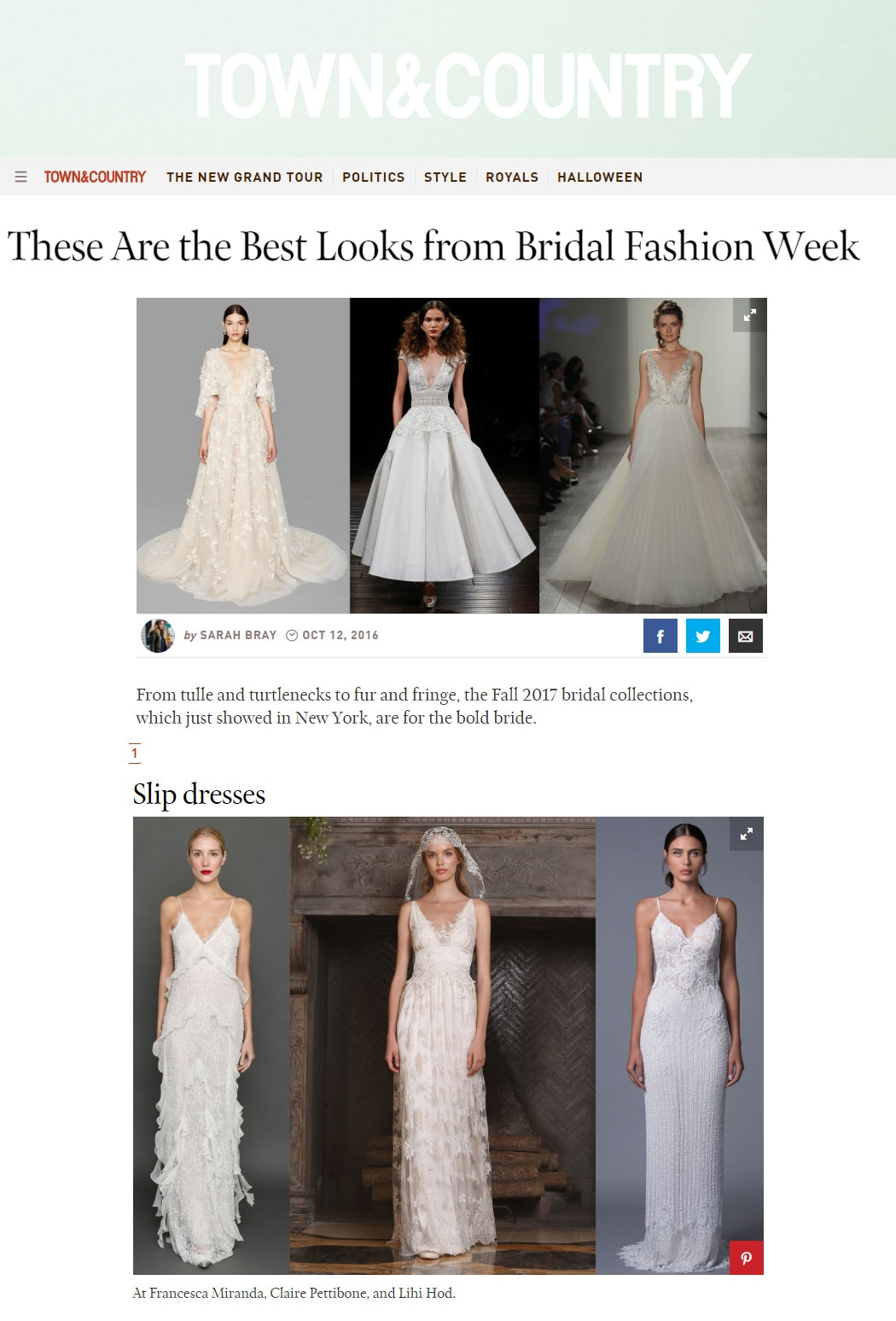 Town & Country: These Are the Best Looks from Bridal Fashion Week