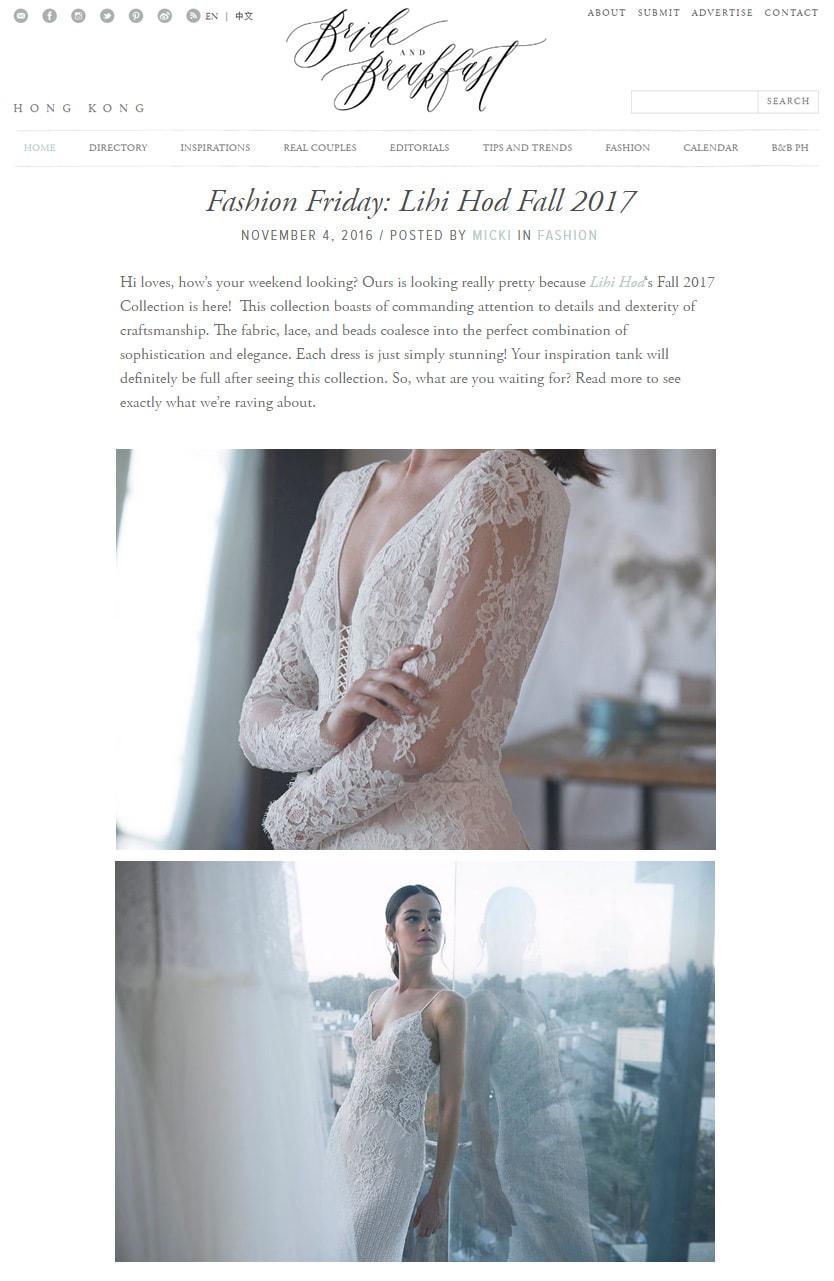 Bride and Breakfast: Fashion Friday: Lihi Hod Fall 2017