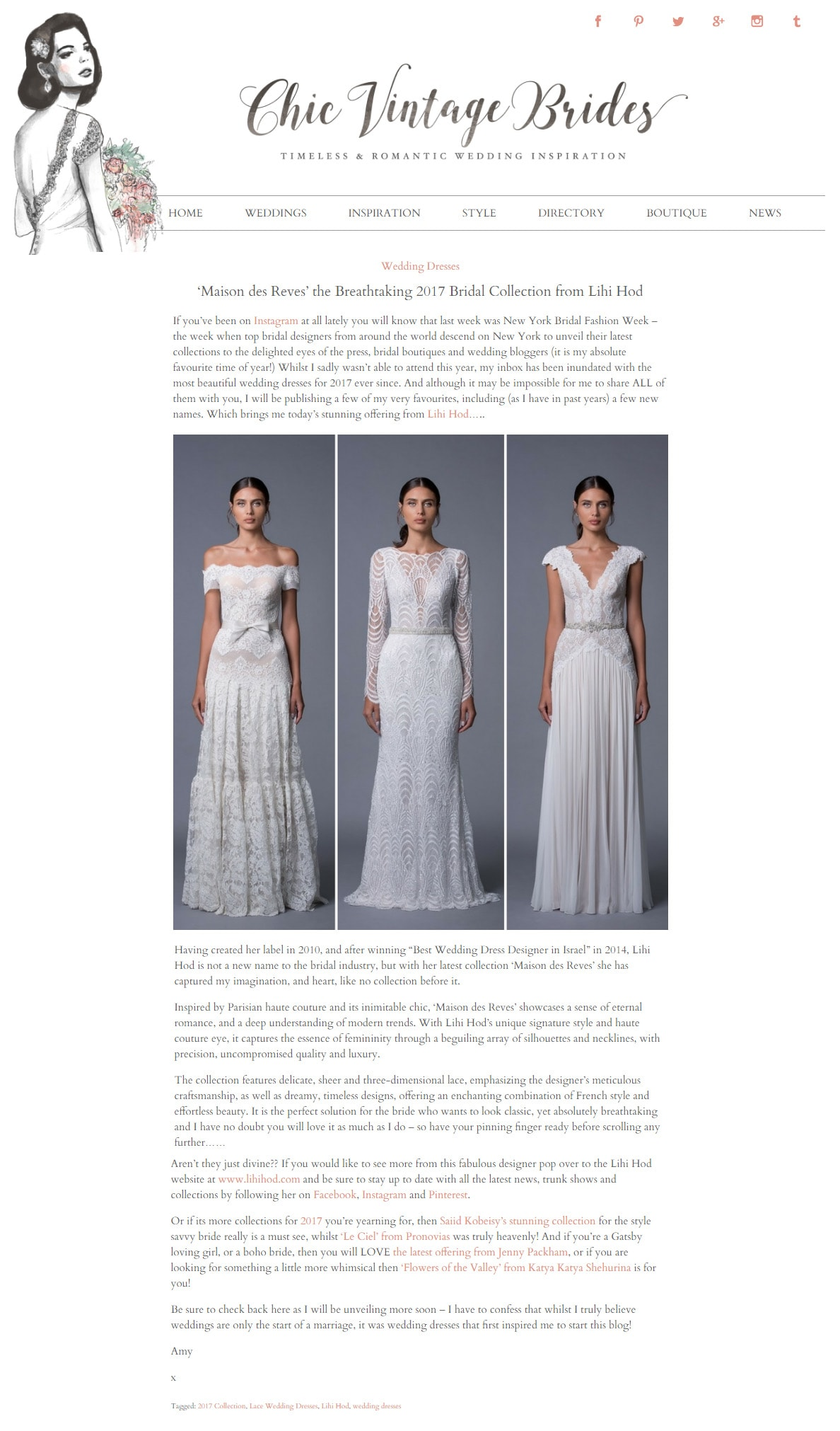 Chic Vintage Bride: 'Maison des Reves' the Breathtaking 2017 Bridal Collection from Lihi Hod