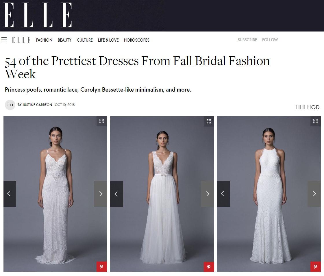 ELLE: 54 of the Prettiest Dresses Fron1 Fall Bridal Fashion Week