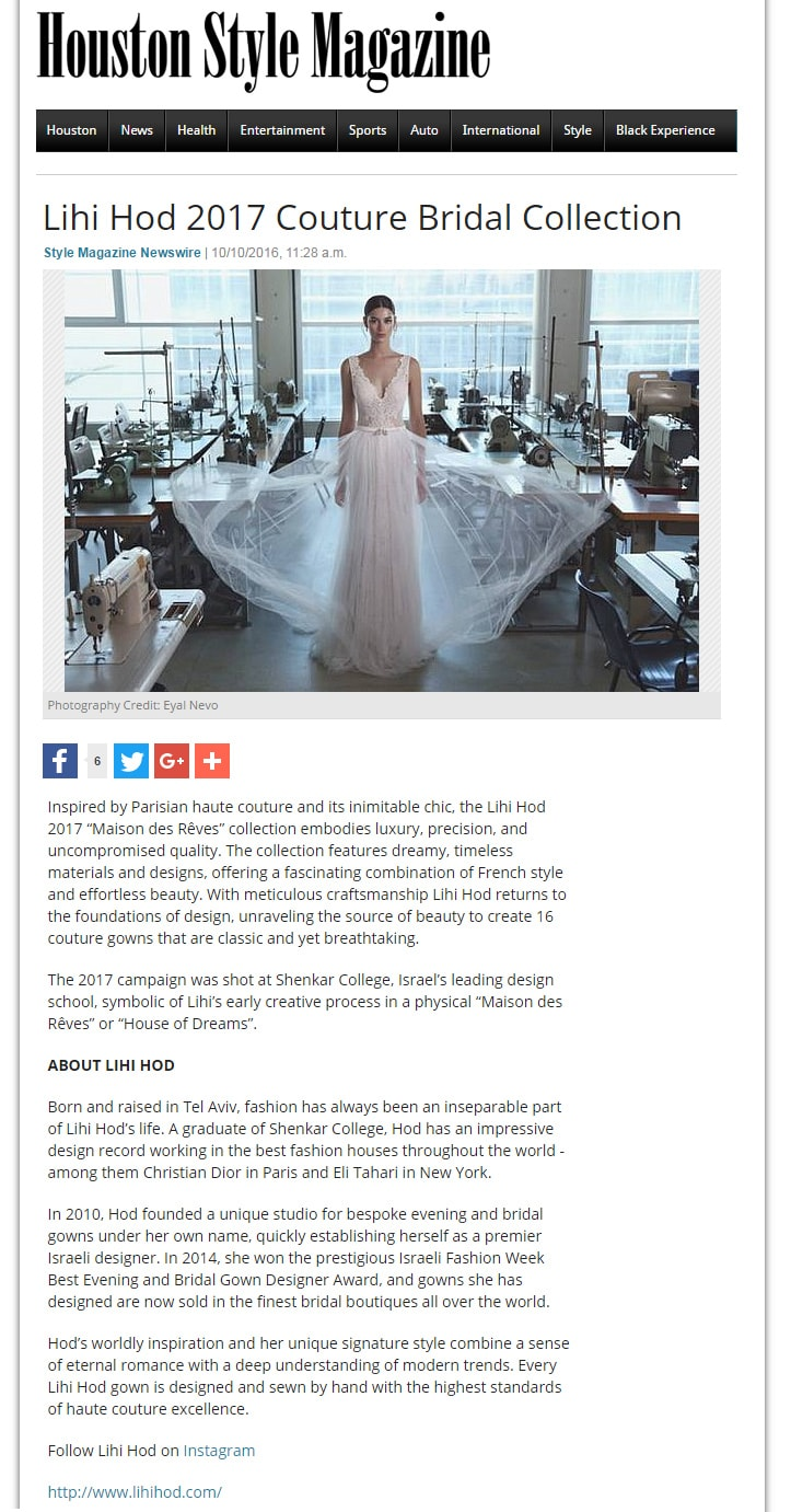 Houston Style Magazine: Lihi Hod 2017 Couture Bridal Collection