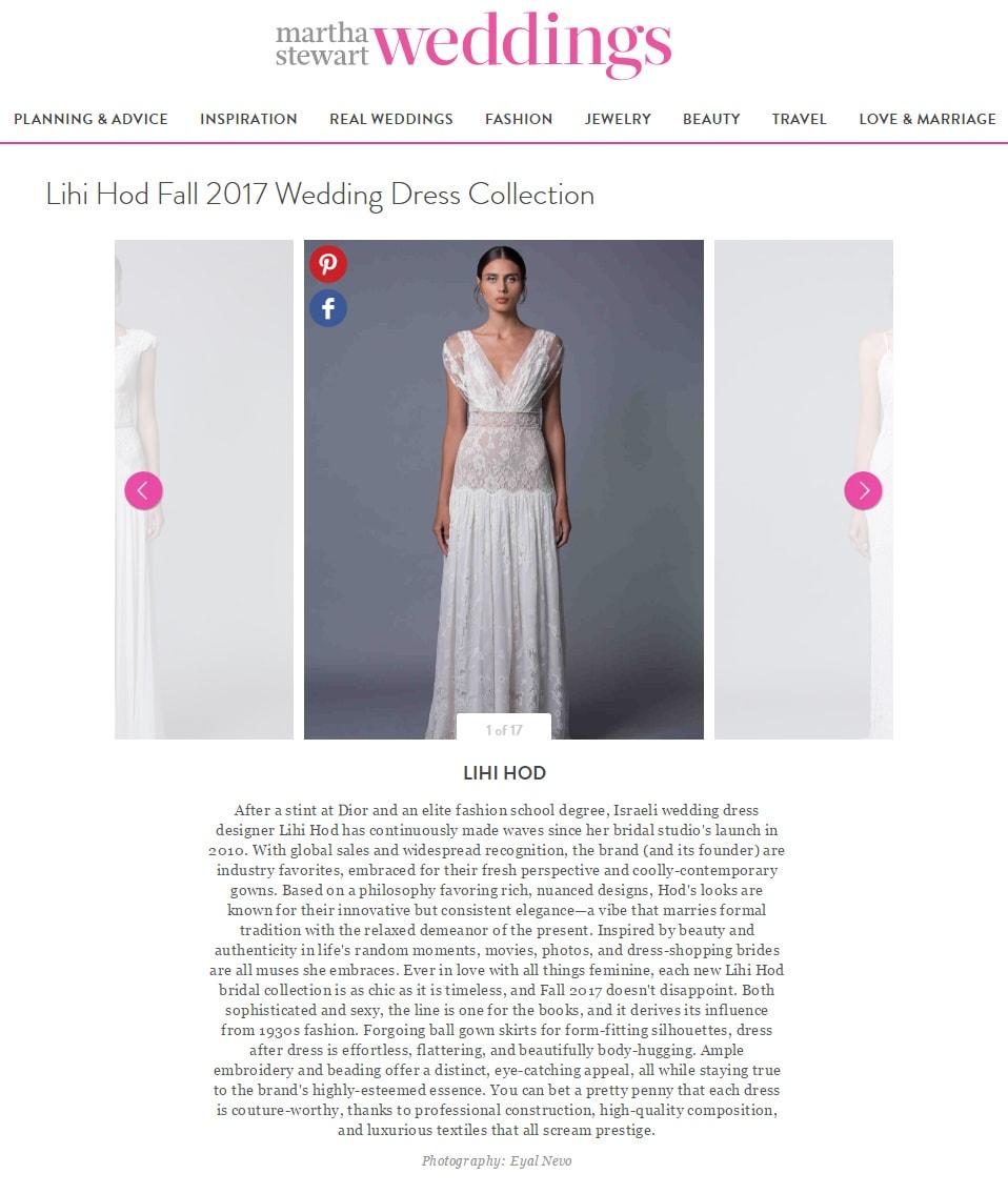 Martha Stewart Weddings: Lihi Hod Fall 2017 Wedding Dress Collection