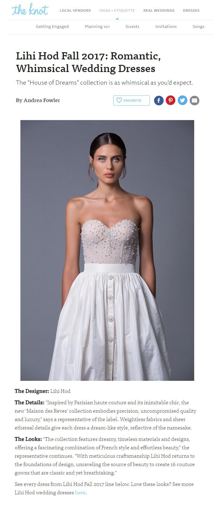 The Knot: Lihi Hod Fall 2017: Romantic,  Whimsical Wedding Dresses