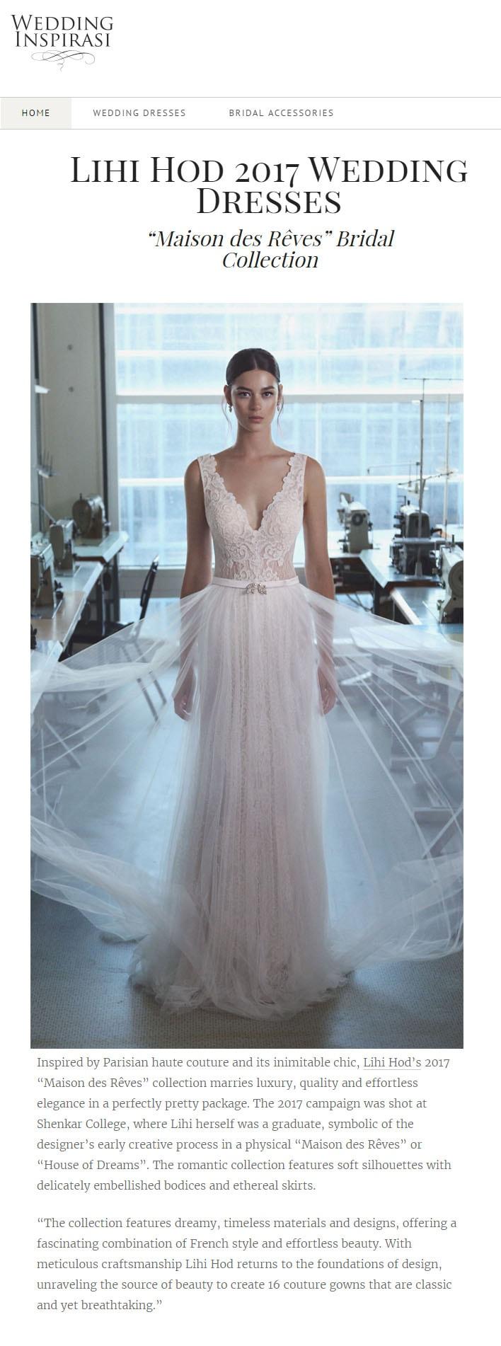 Wedding Inspirasi: LIHI HOD 2017 WEDDING  DRESSES